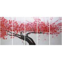 5 panel panoramic canvas prints with acrylic red plumblossom