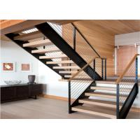 China Metal Stringer Straight Flight Staircase Solid Oak Stairs Low Maintenance Cost on sale