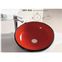 Best Red Color Glazed Colorful Ceramic Wash Sink Hand Wash Basin For Bathroom wholesale