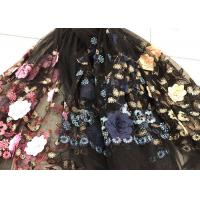 Best Flower Embroidered Sequin Lace Fabric , Multi Colored 3D Flower Mesh Lace Fabrics wholesale