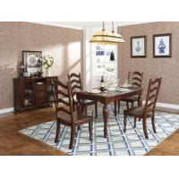 Best Rubber Wood Home dining room furniture Long and round dining table with 4/6 people Chair can by Upholstered cushion seat wholesale