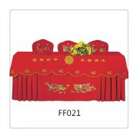 China Very Popular Chinese Style Dark Red Chair and Table Covers For Wedding on sale