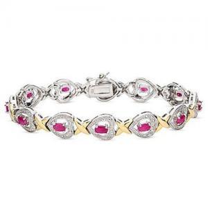 Best 4 Carat Ruby and Diamond 24K Gold On Silver Heart Bracelet wholesale