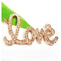 Best Handmade Jewellery Findings Alloy Crystal Love Charms 32 * 42mm For Necklaces wholesale