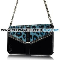 Best hard cases for iPhone 4S 42233 Xcase - Chain Handle Rhinestone Leopard Case with Stand for iPhone 4 (Black) wholesale