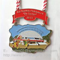 Cheap Enamel paint half Marathon medals and medallions with lace ribbon, enamel sport medals, for sale