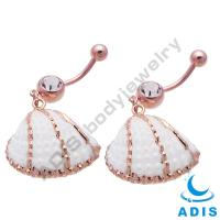China Sea Shell Dangle Belly Button Rings  , Cute Belly Rings For Women on sale