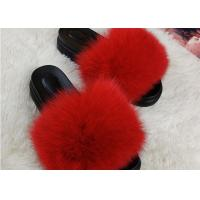 Cheap Summer Lady Sandals Womens Fox Slippers , Super Soft Fuzzy Slide Slippers for sale