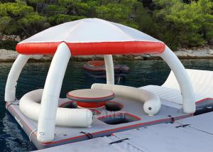 Best Water Play Equipment Inflatable Floating Platforms Inflatable Water Floating Island With Tent For Leisure Time wholesale
