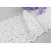 Best Embroidered Flower Eyelet Cotton Lace Trim With Azo Free Organic 13cm Width wholesale