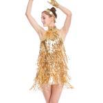 Best 4 Colors Stunning Tap Costume Sequined-Fringes Mock Neck Dance Dress Performance Wear wholesale