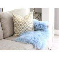 Best Light Blue Long Hair Mongolian Sheepskin Rug Chair Cover With Customized Size wholesale
