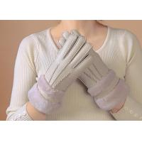 Best Waterproof Womens Shearling Lined Gloves , Ladies Grey Sheepskin Gloves  wholesale