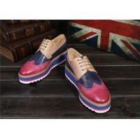 Best Women'S Lace Up Oxford Dress Shoes , Color Blocking Ladies Platform Brogues wholesale