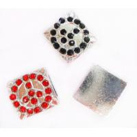 Best Red / Black Handmade Shamballa Jewelry Findings Pave Diamond Square Charms wholesale