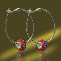 Best Popular 925 Silver Hoop Earring with Crystal Beads (ESA3428A) wholesale
