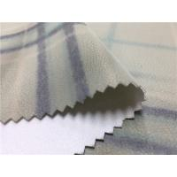 China Coat 0.7mm Printed Polyurethane Leather Fabric Surface Grids Normal Tearing Strength on sale