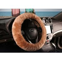 Cheap Brown Super Fuzzy Steering Wheel Cover , Real Soft Fur Car Accessories Wheel for sale