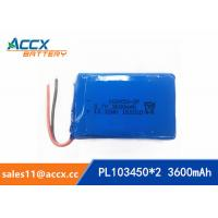 Best 103450 3600mAh 3.7v lithium polymer battery pack with PCM protection 1S2P wholesale