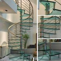 Cheap Small Space House Used Stainless Steel Glass Spiral Staircase with 12mm Glass Railing for sale