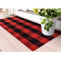 Best Customized Cotton Thread Red And Black Viscose Fiber Lattice Doormat wholesale