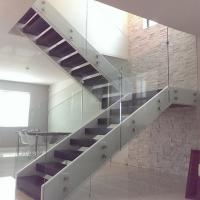 Cheap Double Stringers U-shaped Modern Wood Staircase Design for Villa for sale
