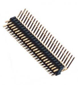 Best Dual Row Pin Header 1.27*2.54 Right Angle Dual Row 90° DIP 50 Pin Header PA9T black ROHS wholesale
