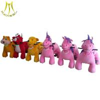 China Hansel attractive designs coin operated electric plush ride on animals on sale