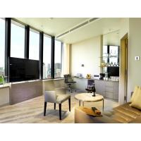 Best Fashion Apartment Hotel Room Furniture Wooden Headboard with Storage Bed and Chest of Cabinets made by Oak laminated wholesale
