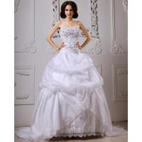 Best Sequined Lace ruffled Strapless Wedding Gowns with long trains , white wholesale