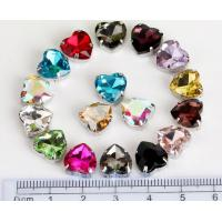 China heart shape 10mm colored crystal sew on rhinestone beads Fancy Stones Jewels on sale
