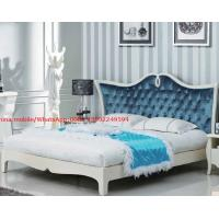 Best Neoclassical design Luxury Furniture Fabric Upholstery headboard King Bed with Crystal Pull buckle Decoration wholesale
