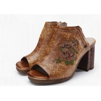 Best Brown Open Toe Clogs Mules , Leather High Heel Clogs With Embroidery Pattern wholesale