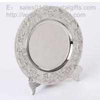 Best Polish Silver metal anniversary plate with stand for display, metal souvenir tray, wholesale