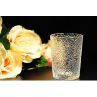 Best 8oz decorations clear candle holders , glass candle cups Leaf Pattern wholesale
