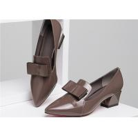 Cheap Green Low Square Heel Shoes With Leather Bowknot , Lovely Low Block Heel Pumps for sale