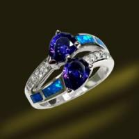 Buy cheap Silver Opal Ring Tanzanite Blue Opal Jewellry Ring from wholesalers