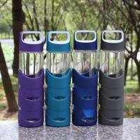 Best Borosilicate 550ml Modern Reusable Glass Water Bottles With Rubber Cover wholesale