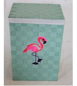 Best Flamingo design laundry basket with paper material, reseda color, rectangle shape wholesale
