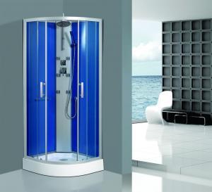 China Framed Clear Corner Glass Shower Enclosure Sandblasted Blue Back Aluminum Panel on sale