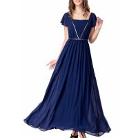 Cheap Elegant Chiffon U Neck Womens Summer Maxi Dresses Royal Blue Flare Sleeves Big Sweep for sale