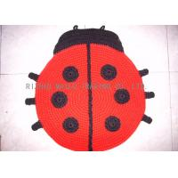 Best Ladybugs Shape Crochet Doily Rug Wrinkle - Resistant Red Hand Knit Rug wholesale