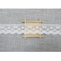 Best White Embroidered Lace Trim For Smocked Dress / Lace Ribbon Embroidery Fabric wholesale