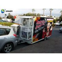 Best Trailer Mobile 5D Cinema Black / Red Luxury Chair with Complete Special Effect Machine wholesale