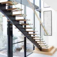 Best Modern Design Straight Glass Staircase with Solid Oak Staircase wholesale