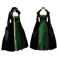 Best Medieval Dress Wholesale Long Sleeve ROCOCO Ball Grown Gothic Medieval Victorian in Green and Black by Satin and Velvet wholesale