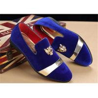 Buy cheap Men'S Velvet Loafer Shoes With Personality Tiger Head Gold Buckle Red Bottom from wholesalers