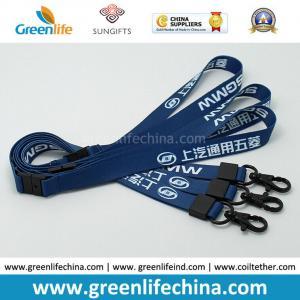 Best Custom Logo Blue Lanyards with Custom Black Plating Metal Crimp and Snap Hook wholesale