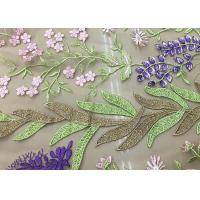 Best Soft Embroidered Tulle Coloured Lace Fabric , Women Dresses Lace Clothing Fabric wholesale