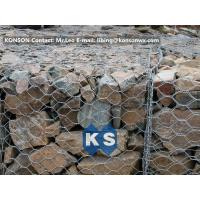 Best PVC / Zinc Coated Wire Mesh Gabion Retaining Wall , Galvanized Hexagonal Wire Fence wholesale